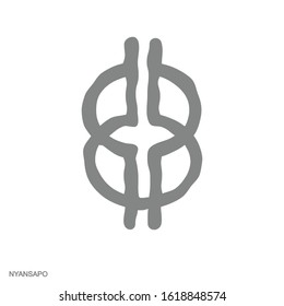 Vector monochrome icon with Adinkra symbol Nyansapo