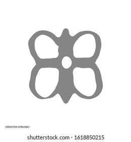 Vector monochrome icon with Adinkra symbol Obaatan Awaamu