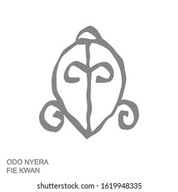 Vector monochrome icon with Adinkra symbol Odo Nyera Fie Kwan