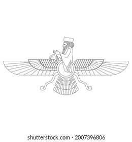 vector monochrome icon with ancient  sumerian symbol Faravahar for your project