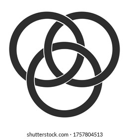 vector monochrome icon with Borromean rings