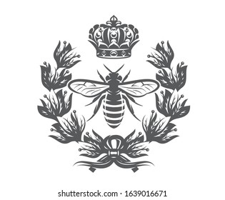 Vector monochrome illustration with bee, imperial crown and laurel wreath.