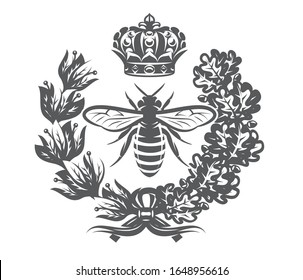 Vector monochrome illustration with bee, imperial crown and wreath.