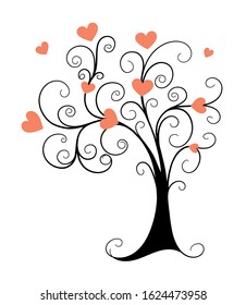 Vector monochrome illustration concept for Valentine Day greeting card, decoration romantic holidays. Doodle hand drawn black tree and pink hearts. eps 10
