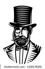 Vector monochrome illustration of a gentleman and top hat for the club.
