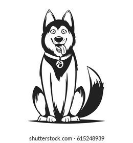 Vector monochrome illustration of husky dog. Isolated on white background.