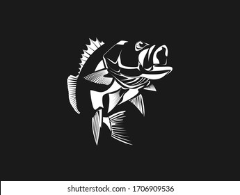 Vector monochrome illustration of a Large mouth Bass fish and open mouth