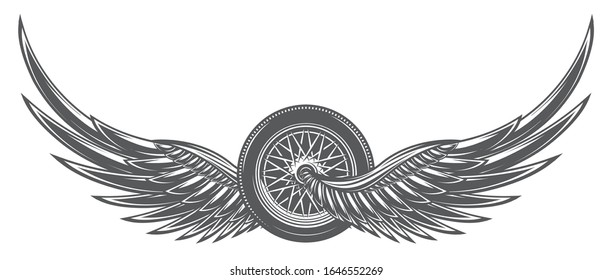 Vector monochrome illustration with wings and wheel.