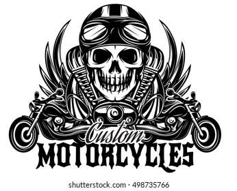 vector monochrome image on a motorcycle theme with skulls, motorcycles, wings, engine