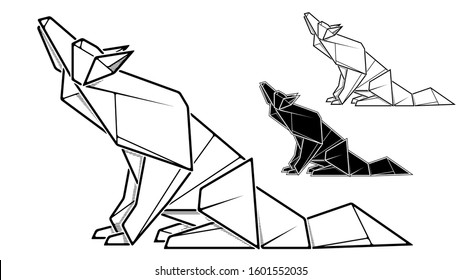 Vector monochrome image of paper wolf origami (contour drawing by line).