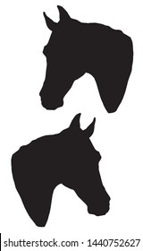 vector monochrome isolated image of silhouettes of the heads of two black thoroughbred horses
