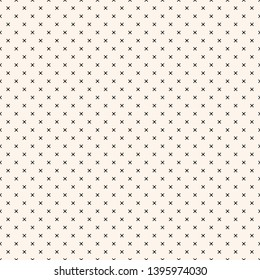 Vector monochrome minimalist geometric seamless pattern with small squares, crosses, tiny flower shapes, dots. Simple minimal black and white texture. Pixel art background. Repeatable dotted design