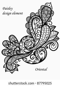 vector monochrome paisley design element