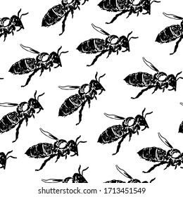 Vector monochrome pattern with honey bee. Engraving style.Black and white freehand graphics.Insect in profile, side view