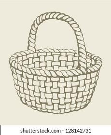 Vector. Monochrome picture wickerwork basket