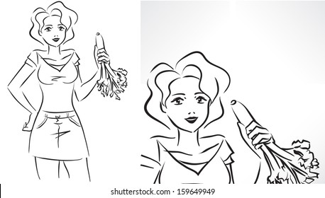 Vector monochrome picture with young slender female eating celery/Woman with celery