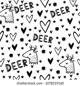 Vector monochrome seamless pattern with deer in Scandinavian style. cute hearts