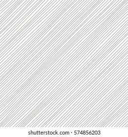 Vector monochrome seamless pattern. Diagonal lines texture. Simple design. Abstract background. Black & white  illustration. Minimalistic style. Thin stripes surface.