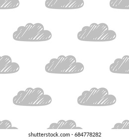 Vector monochrome seamless pattern with hand drawn sketchy clouds on a white background