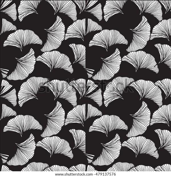 Vector monochrome seamless pattern. Hand drawn leaf of Ginkgo Biloba.