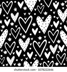 Vector monochrome seamless pattern with hearts in Scandinavian style. cute hearts and stars