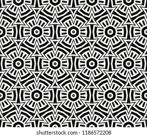 Vector monochrome seamless pattern. Modern geometric seamless pattern, simple black and white ornamental texture. Abstract repeat backdrop. Design for decor, prints, textile, furniture, cloth, digital