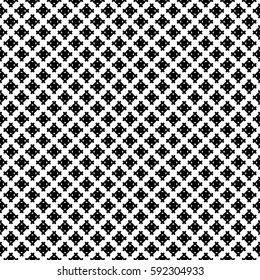 Vector monochrome seamless pattern, simple geometric texture, black figures on white backdrop. Abstract repeat background for tileable print. Design for decoration, textile, fabric, cloth, digital