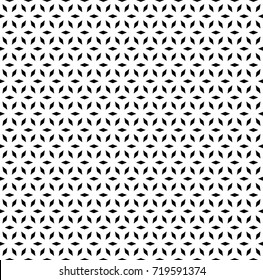 Vector monochrome seamless pattern, simple repeat geometric ornamental texture with rhombuses, black & white lattice, mosaic background. Design for prints, decor, digital, cover, textile, wallpaper