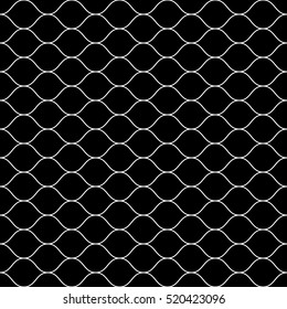 Vector monochrome seamless pattern, white thin wavy lines on black backdrop. Illustration of mesh, fishnet. Subtle dark background, simple repeat texture. Design for prints, decoration, digital, web
