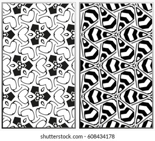 Vector monochrome seamless patterns set, abstract geometric texture. Ornament for interior design. Repeating abstract background with chaotic strokes.