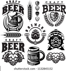 vector monochrome set of illustrations, signs, design elements for design of beer theme.
