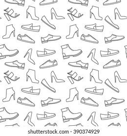 Vektormonochrome Schuhmuster. Umfassende Modesymbole - nahtloser Hintergrund