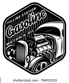 Vector monochrome template for a filling station with vintage car.