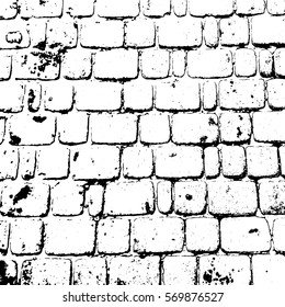 Vector monochrome texture cobbled road in retro style