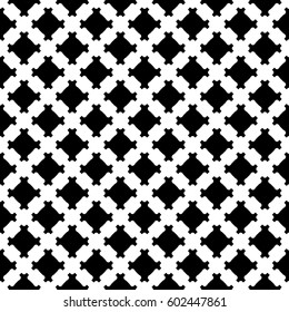 Vector monochrome texture, geometric black & white seamless pattern, simple square background with diagonal lattice. Design element for prints, decoration, textile, fabric, furniture, clothes, apparel