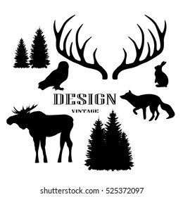 Vector monochrome vintage set of icons, emblems, logos and labels. Deer antlers, fox and moose silhouettes. Trendy Hipster design elements.