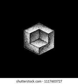vector monochrome white retro dot art hand drawn cubical geometric volumetric blackwork design element vintage tattoo style decoration isolated shape illustration black background