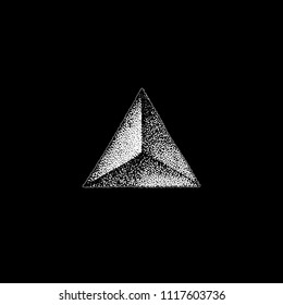 vector monochrome white retro dot art hand drawn triangle prism pyramid geometric volumetric blackwork design element vintage tattoo style decoration isolated shape illustration black background