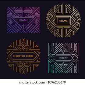 Vector monogram design elements in trendy vintage and mono line style with space for text - abstract golden geometric frames, packaging template for luxury products. Use for ad, poster, card, cover.