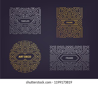 Vector monogram design elements in trendy vintage and mono line style with space for text - abstract golden and silver geometric frames, packaging template . Use for ad, poster, card, cover. Art deco