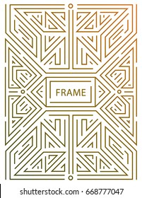 Vector monogram design elements in trendy vintage and mono line style with space for text - abstract golden geometric frame, packaging template for luxury products. Use for ad, poster, card, cover.