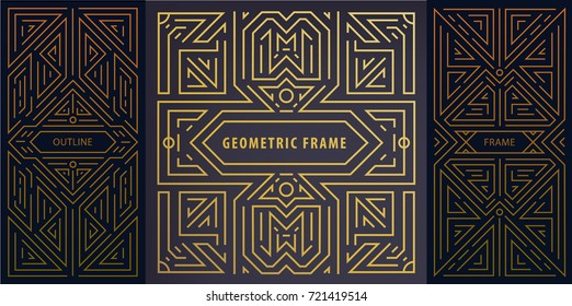 Vector monogram design elements in trendy vintage and mono line style with space for text - abstract golden geometric frames, packaging template f. Use for ad, poster, card, cover. Art deco