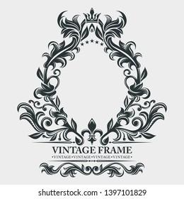 Vector monogram. Elegant emblem logo. Vintage baroque frame, border. Leaf scroll floral ornament. Engraving retro flower pattern. Antique style, swirl, decorative design element.