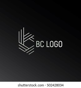 Vector monogram of initial letters b and c in negative space lowercase logo black and white with stripes