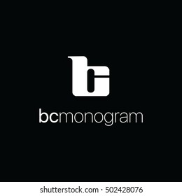 Vector monogram of initial letters b and c in negative space lowercase logo black and white