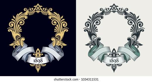Vector monogram and initials. Golden decorative frame. Retro ribbon. Wedding invitation. Calligraphic ornament. Dark background. Heraldic symbols. Business sign, identity for hotel, restaurant