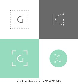 Vector monogram of K and G letters. Template for logo of an architect, engineer, graphic designer or other occupation