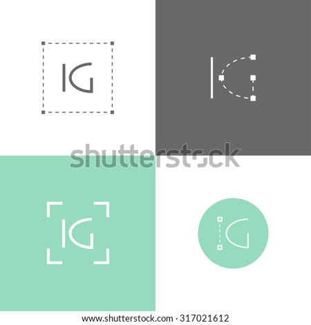 vector monogram of k and g letters template for logo of an architect engineer