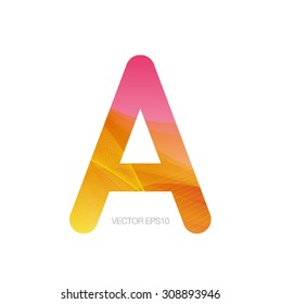 Vector monogram letter A with modern colorful texture on white background