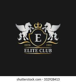 Vector monogram logo template. Luxury letter design. Graceful vintage character with pegasus symbols illustration. Used for hotel, restaurant, boutique, jewellery invitation, business card etc.